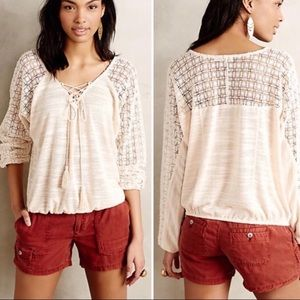 Anthropologie Meadow Rue banded bottom Blouse
